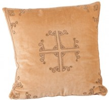 Coussin coton polyester et velours ocre Diana