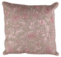 Coussin shabby chic coton et polyester brodé rose Sabia