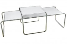 Duo tables basses contemporaines blanches Macio
