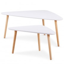 Table d'appoint triangulaire bois laqué blanc Scandinave - Lot de 2