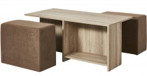 Ensemble table basse naturel et 2 poufs encastrables marron Manuz
