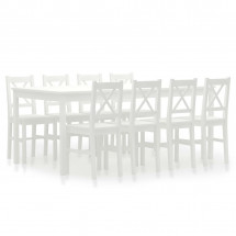 Ensemble table et 8 chaises pin massif blanc Kampia