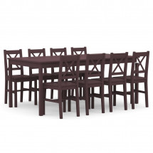 Ensemble table et 8 chaises pin massif marron Kampia