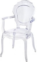 Fauteuil baroque polycarbonate transparent Loby - Lot de 2