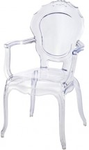Fauteuil baroque polycarbonate transparent Loby - Lot de 4