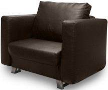 Fauteuil convertible 1 place simili marron Salie