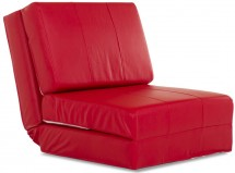 Fauteuil convertible similicuir rouge Cassandra