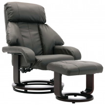 Fauteuil inclinable avec repose pieds simili cuir gris Panky