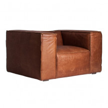 Fauteuil large cuir marron British