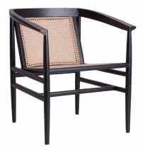 Fauteuil mahogany massif noir et rotin clair Ngeda