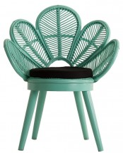 Fauteuil rotin et pieds mahogany massif turquoise Ziyed