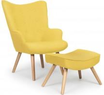 fauteuil et pouf scandinave tissu jaune lilie - Fauteuil Scandinave Avec Repose Pied