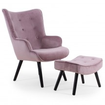Fauteuil scandinave avec repose pied velours rose Sonia