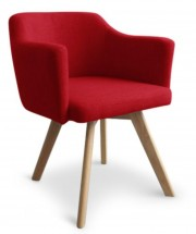 Fauteuil Scandinave tissu rouge Kanty