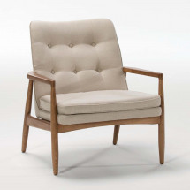 Fauteuil scandinave toile beige Mamy