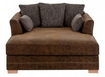 Fauteuil tissu marron et pieds pin massif clair Mahee