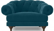 Fauteuil ultra confortable Velours bleu Chesterfield