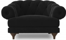 Fauteuil ultra confortable Velours noir Chesterfield