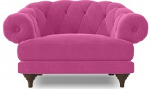 Fauteuil ultra confortable Velours rose Chesterfield