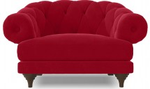 Fauteuil ultra confortable Velours rouge Chesterfield
