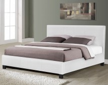 Lit moderne simili cuir blanc brillant Plaza 160x200 cm dfaaa256fa8a