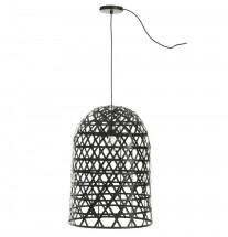 Lampe suspension bambou noir Bialli