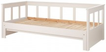 Lit banquette extensible pin massif blanc Pino 90x200 cm