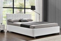Lit coffre simili cuir blanc Sleepa 140