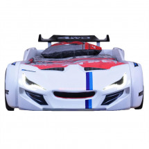 Lit voiture de course turbo V1 blanc 90x190 cm