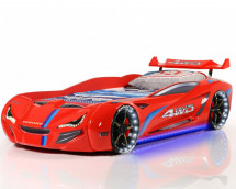 Lit voiture de course turbo V1 rouge 90x190 cm