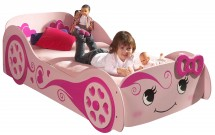 Lit voiture rose Pretty 90x200 cm