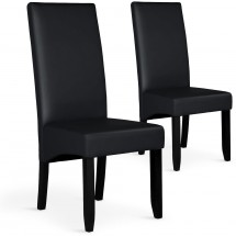 Chaise Simili Noir Soft - Lot de 2