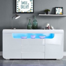 MIAMI Buffet contemporain avec LED laqué blanc brillant - L 150 cm