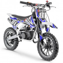 Moto cross pocket 50cc 2 Temps 10/10 blanc et bleu