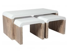 Pack 3 Tables basses Blanc brillant et Naturel Kuba