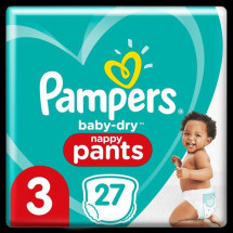 Pampers Baby-Dry Pants Couches-Culottes Taille 3, 27 Culottes
