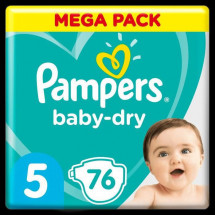Pampers Baby-Dry Taille 5, 76 Couches