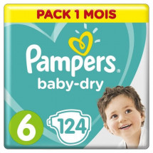 PAMPERS Baby Dry Taille 6 - des 15 kg - 124 couches - Format pack 1 mois