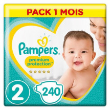 PAMPERS Premium Protection New Baby Taille 2 - 4 a 8kg - 240 couches - Format pack 1 mois
