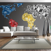 Papier peint XXL Map of the World colorful solids