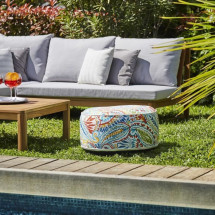 Pouf gonflable jardin Bocarnea - Assise 53 cm - Revetement spun polyester 200 mg - Motif tropical multicolore