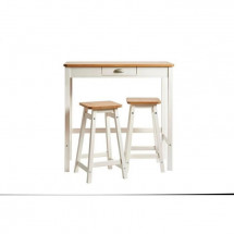 Set Table Bar + 2 Tabourets Décor chene et blanc - L 90 x P 45 x H 90 cm - KENIA