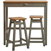 Set Table Bar + 2 Tabourets Décor chene et gris - L 90 x P 45 x H 90 cm - KENIA