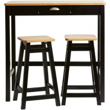 Set Table Bar + 2 Tabourets Décor chene et noir - L 90 x P 45 x H 90 cm - KENIA