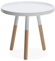 Table d'appoint ronde bois blanc William 50