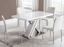 Table à manger extensible design blanc brillant Kinda 120-170 cm