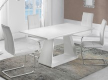 Table à manger extensible pied central blanc laqué mat Holena