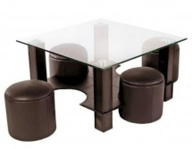 Table basse carrée et 4 poufs simili marron Kuadri