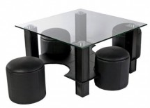 Table basse carrée et 4 poufs simili noir Quadri