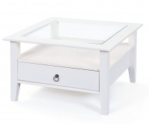 Table basse carrée pin massif vernis blanc Prince 75 cm